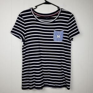 TOMMY HILFIGER Blue/White Striped Top Size…
